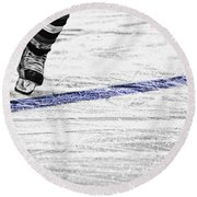 The Blue Line Round Beach Towel by Karol Livote
