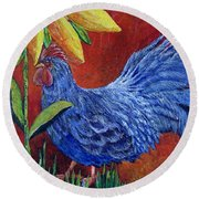 The Blue Rooster Round Beach Towel