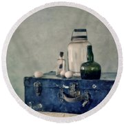 The Blue Suitcase Round Beach Towel by Priska Wettstein