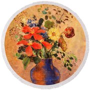 The Blue Vase Round Beach Towel
