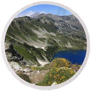 The Blue Vasilashko Lake Pirin National Park Bulgaria  Round Beach Towel