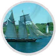American Tall Ship Sails Past Mcnabs Island Round Beach Towel
