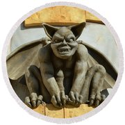 The Boardwalk Of Santa Cruz Gargoyles Round Beach Towel