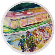 The Boat Trip, 1989 Wc On Paper Round Beach Towel