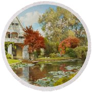 The Boathouse Round Beach Towel by Alfred Parsons