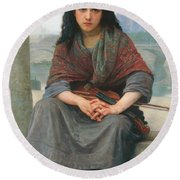 The Bohemian Round Beach Towel by William Adolphe Bouguereau