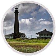 The Bolivar Lighthouse Round Beach Towel