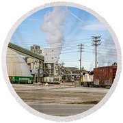 The Borax Plant And Locomotive Round Beach Towel