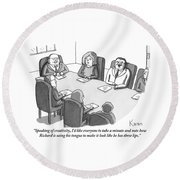 The Boss At An Executive Meeting Points Out An Round Beach Towel by Zachary Kanin