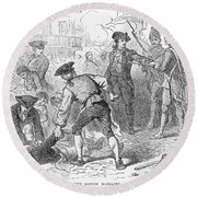 The Boston Massacre, March 5th 1770, Engraved By A. Bollett Engraving B&w Photo Round Beach Towel