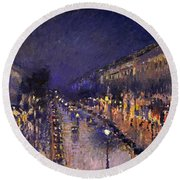 The Boulevard Montmartre At Night Round Beach Towel