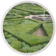 The Boxwood Garden At Chateau Villandry Round Beach Towel