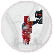 The Boy And The Box 2 Round Beach Towel