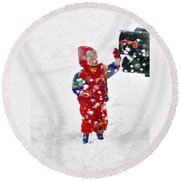The Boy And The Box 3 Round Beach Towel