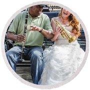 The Bride Plays The Trumpet- Destination Wedding New Orleans Round Beach Towel