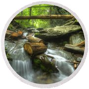 The Bridge At Alum Cave Round Beach Towel by Debra and Dave Vanderlaan