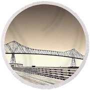 The Bridge At Astoria Round Beach Towel