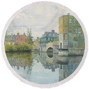The Bridge At Saint Ives Round Beach Towel