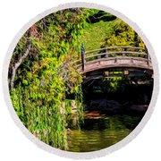The Bridge In The Japanese Garden Round Beach Towel