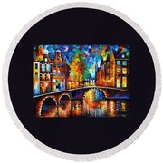 The Bridges Of Amsterdam - Palette Knife Oil Painting On Canvas By Leonid Afremov Round Beach Towel