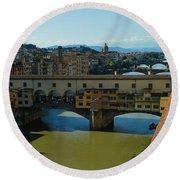 The Bridges Of Florence Italy Round Beach Towel