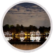 The Bright Lights Of Boathouse Row Round Beach Towel