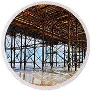 The Brighton Pier  Round Beach Towel