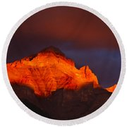 The Brilliance Of Light Mount Rundle Banff Round Beach Towel
