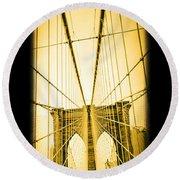 The Brooklyn Bridge New York Round Beach Towel