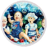 The Bubble Gang Round Beach Towel