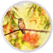 The Bubbly World Of A Hummingbird Round Beach Towel
