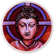 The Buddha In Red And Gold Round Beach Towel