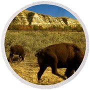 The Buffalo Dance Round Beach Towel
