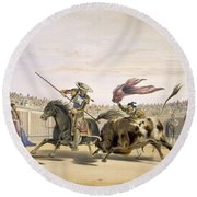 The Bull Following Up The Charge, 1865 Round Beach Towel