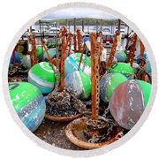 The Buoys Of Summer Round Beach Towel