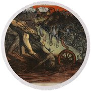 The Burden Of Taxation, Illustration Round Beach Towel by Eugene Cadel
