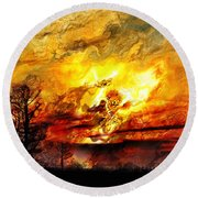 The Burning - Digital Paint Round Beach Towel