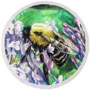 The Busy Bee And The Lilac Tree Round Beach Towel