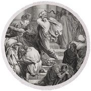 The Buyers And Sellers Driven Out Of The Temple Round Beach Towel by Gustave Dore