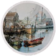 The B'y That Catches The Fish Round Beach Towel by Hanne Lore Koehler