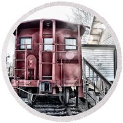 The Caboose Round Beach Towel by Bill Cannon