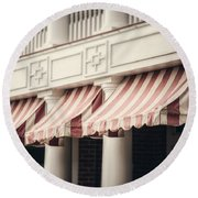 The Cafe Awnings At Chautauqua Institution New York  Round Beach Towel