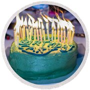 The Cake Is On Fire Round Beach Towel