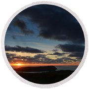 The Calf From A Hilltop In Twilight I Round Beach Towel