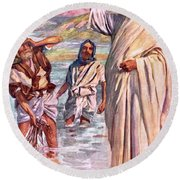 The Call Of Andrew And Peter Round Beach Towel by Harold Copping