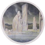 The Callanish Legend Isle Of Lewis Round Beach Towel by Evangeline Dickson