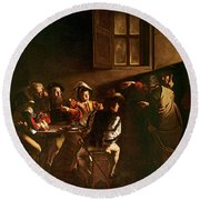 The Calling Of St Matthew Round Beach Towel by Michelangelo Merisi o Amerighi da Caravaggio