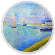 The Canal At  Gravelines Round Beach Towel
