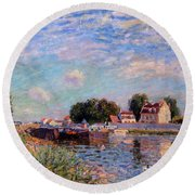 The Canal At Saint-mammes Round Beach Towel