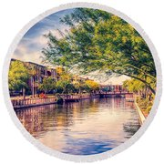 The Canal In Downtown Scottsdale Round Beach Towel